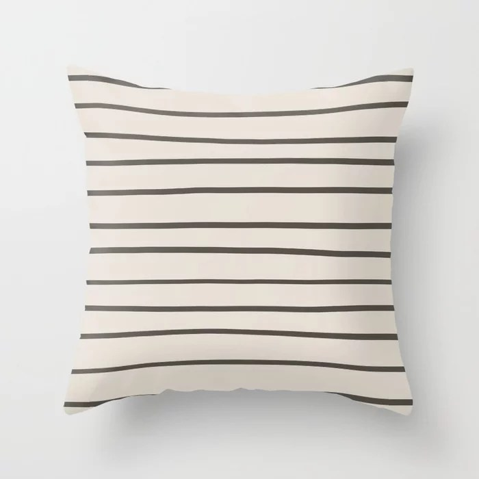 Brown and Cream Thin Horizontal Line Pattern Throw Pillows match and coordinate with Sherwin Williams Paints 2021 Color of the Year Urbane Bronze and Shoji White