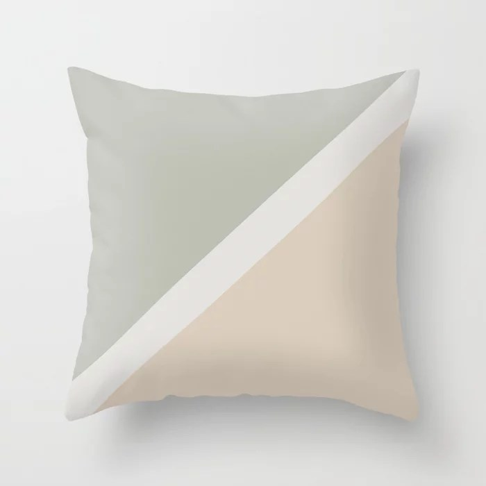 Beige Green Gray White Minimal Stripe Design: Hues were inspired by and match (pair / coordinate with) 2021 Color of the Year Uptown Ecru & Accent Shade Throw Pillow