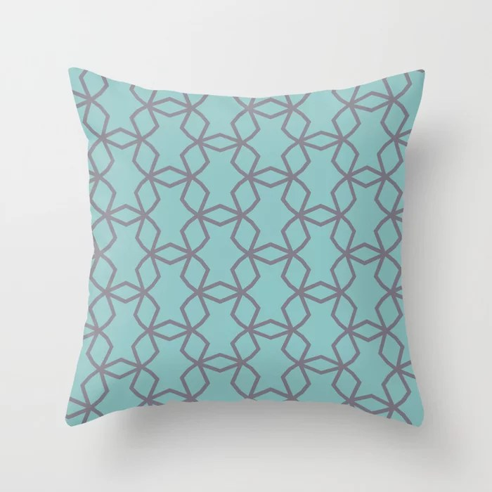 Aquamarine and Purple Geometric Mosaic Pattern V2 2021 Color of the Year Aqua Fiesta and Magic Dust Throw Pillow