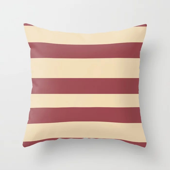 Red and Light Beige Wide Horizontal Stripe Pattern 2021 Color of the Year Passionate & Diamond Weave Throw Pillow