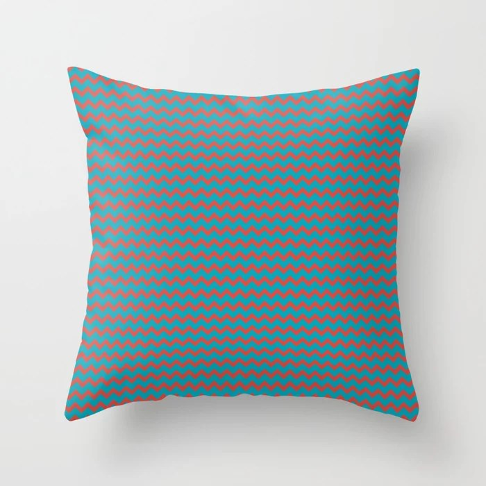 Aqua Blue and Red Chevron Zigzag Pattern 2021 Color of the Year AI Aqua and Oxy Fire Throw Pillow
