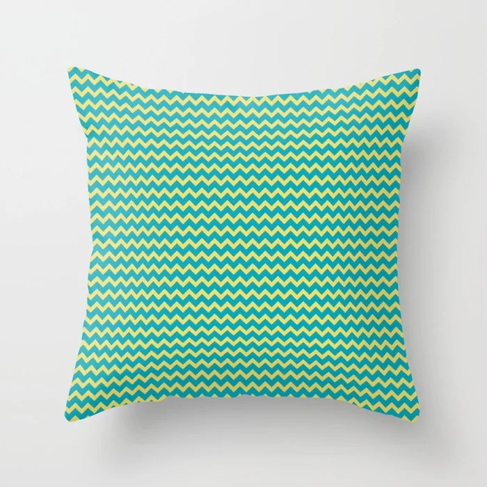 Aqua Blue and Yellow Chevron Zigzag Pattern 2021 Color of the Year AI Aqua and Lemon Sherbet Throw Pillow