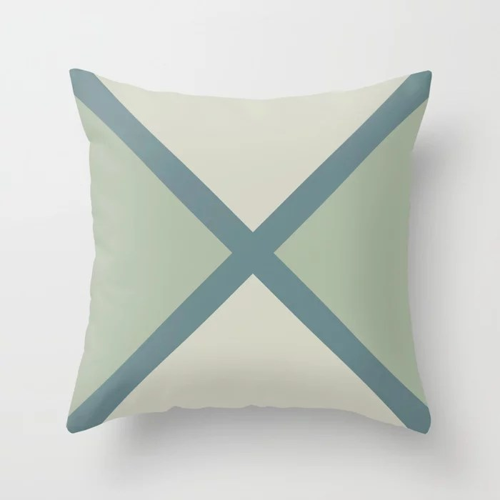 Blue-Green Beige Green Diagonal Stripes X Pattern 2021 Color of the Year Aegean Teal Accent Shades Throw Pillow