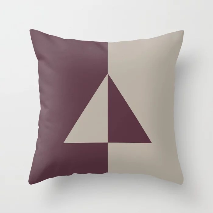Deep Purple Gray Taupe Minimal Triangle Design Throw Pillows inspired by and pairs to (matches / coordinates with) Graham and Brown 2021 Color of the Year Epoch and Fondue