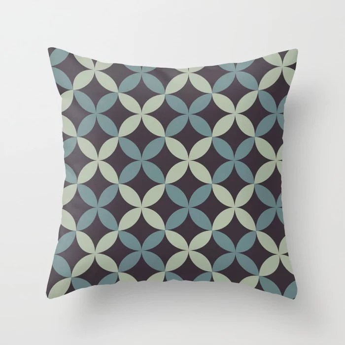 Blue-Green Purple Green Minimal Flower Pattern 2021 Color of the Year Aegean Teal and Accent Shades Throw Pillow