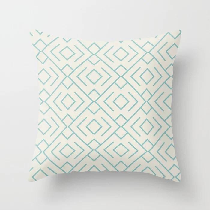 Aquamarine Cream Geometric Mosaic Pattern 4 V2 2021 Color of the Year Aqua Fiesta and Horseradish Throw Pillow