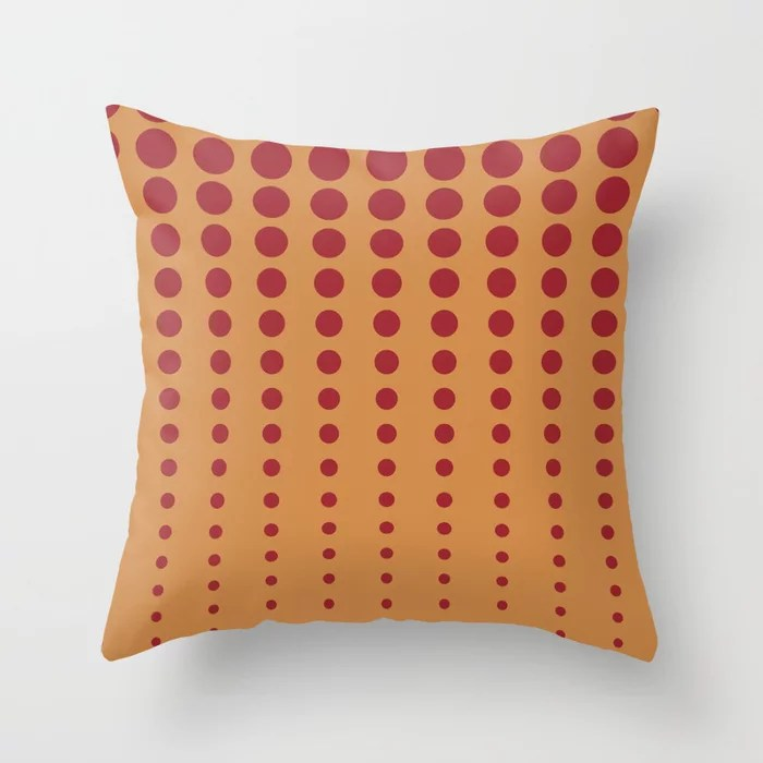 Dark Orange & Red Reduced Polka Dot Pattern 2021 Color of the Year Satin Paprika and Warm Caramel Throw Pillow