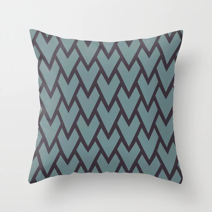 Soft Aqua Blue Purple Tessellation Line Pattern 17 2021 Color of the Year Aegean Teal Tulsa Twilight Throw Pillow