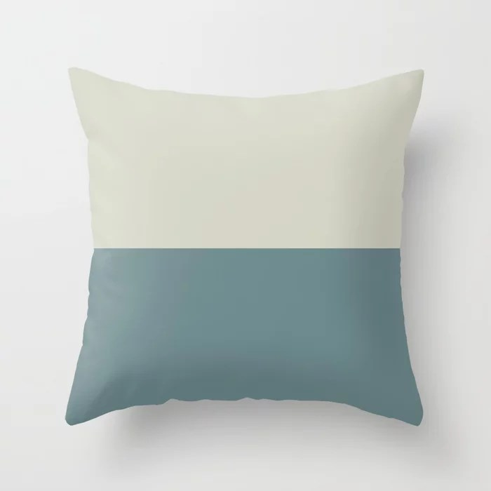 Blue-Green Beige Minimal Horizon Stripe Pattern 2021 Color of the Year Aegean Teal and Sweet Spring Throw Pillow