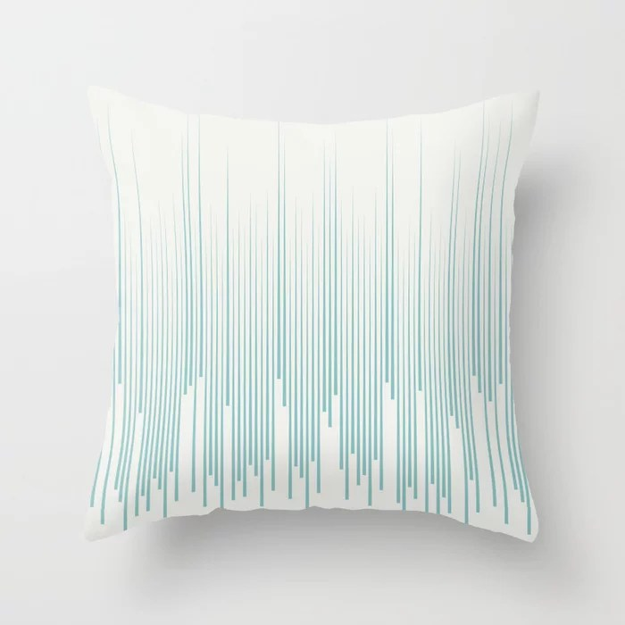 Aqua and White Frequency Line Art Pattern Color of the Year Aqua Fiesta and Delicate White Throw Pillow