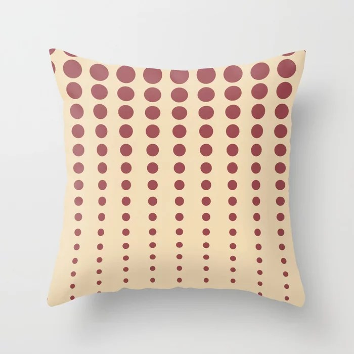 Red and Beige Reduced Polka Dot Pattern 2021 Color of the Year Passionate and Diamond Weave Throw Pillow