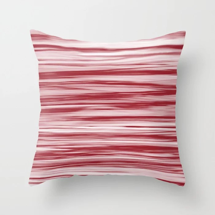 Red Soft Focus Motion Watercolor Blend Stripes Rustoleum 2021 Color of the Year Satin Paprika Throw Pillow