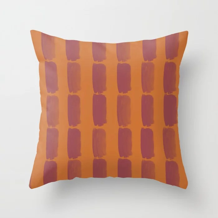 Red and Orange Grid Brushstroke Pattern 2021 Color of the Year Passionate and Copper Kettle Throw Pillow
