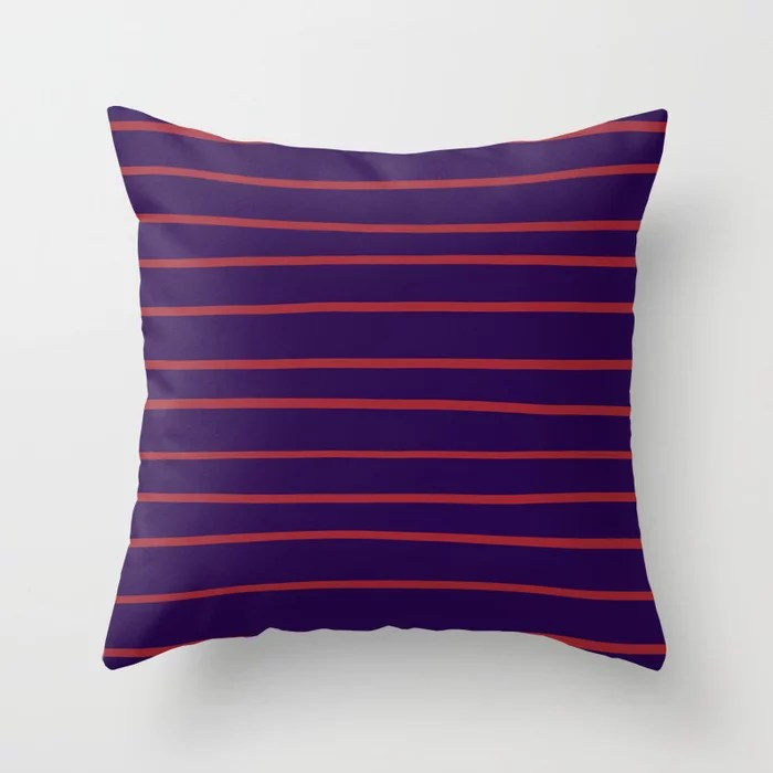 Red and Purple Thin Stripe Pattern 2021 Color of the Year Satin Paprika and Purple Throw Pillow