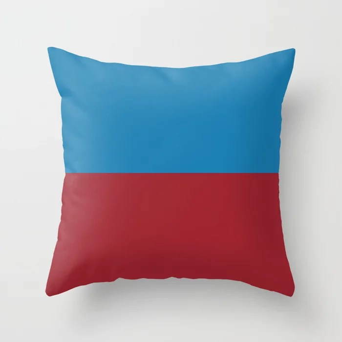 Red and Blue Minimal Line Pattern 2021 Color of the Year Satin Paprika and Satin Lagoon Throw Pillow