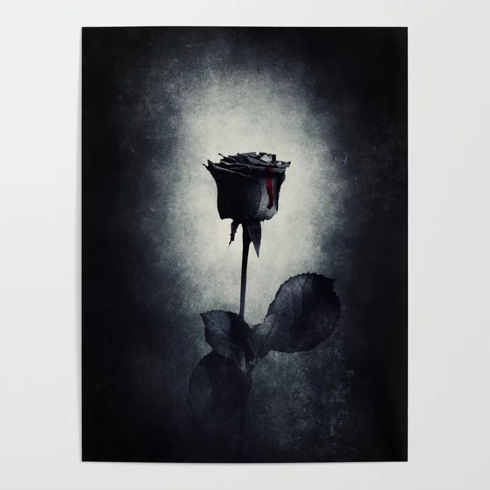 Goth Black Rose Dripping Blood on Black Grunge Poster by moonfluff |  Society6