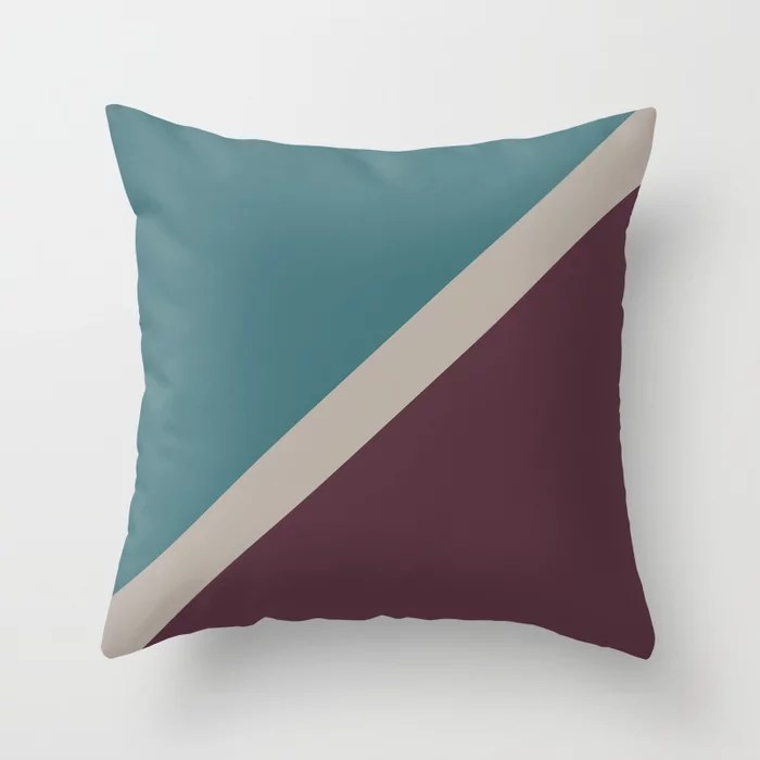 Purple Pink-Purple Aqua Diagonal Stripe Pattern Throw Pillows inspired by and pairs to (matches / coordinates with) Graham and Brown 2021 Color of the Year Epoch and Accent Shades