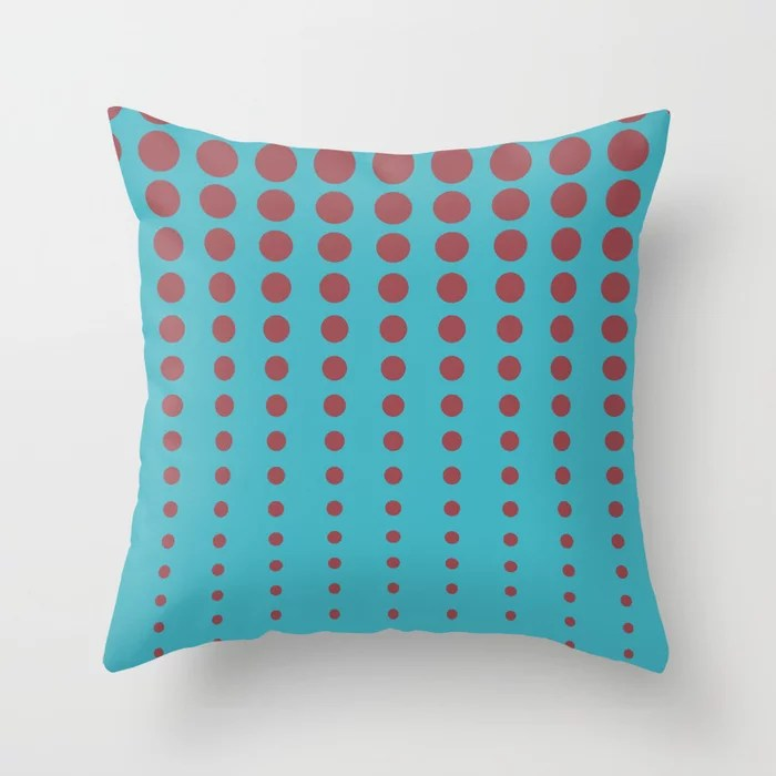 Red and Aqua Reduced Polka Dot Pattern 2021 Color of the Year Passionate and September Skies Throw Pillow