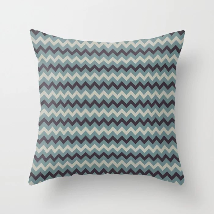 Blue-Green Beige Purple Chevron Pattern 2021 Color of the Year Aegean Teal and Accent Shades Throw Pillow