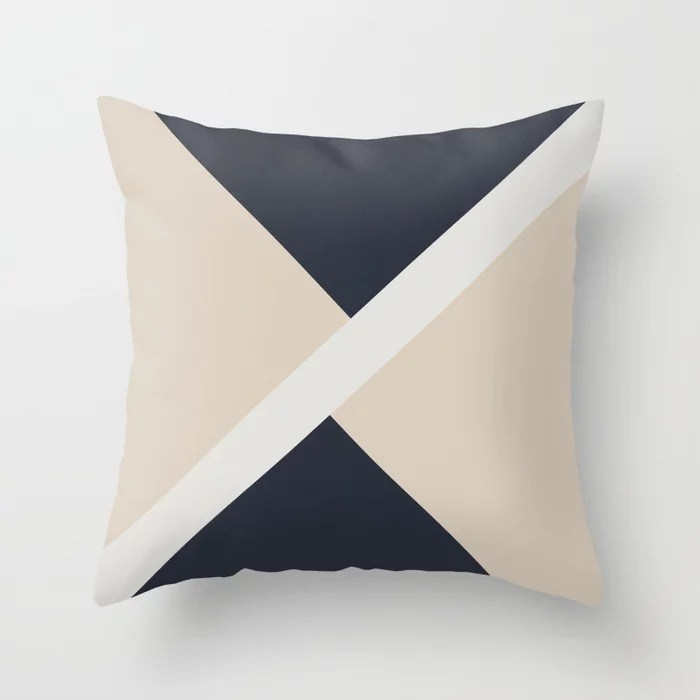 Beige White Blue Stripe Offset Shape Design: Hues were inspired by and match (pair / coordinate with) 2021 Color of the Year Uptown Ecru & Accent Shade Throw Pillow