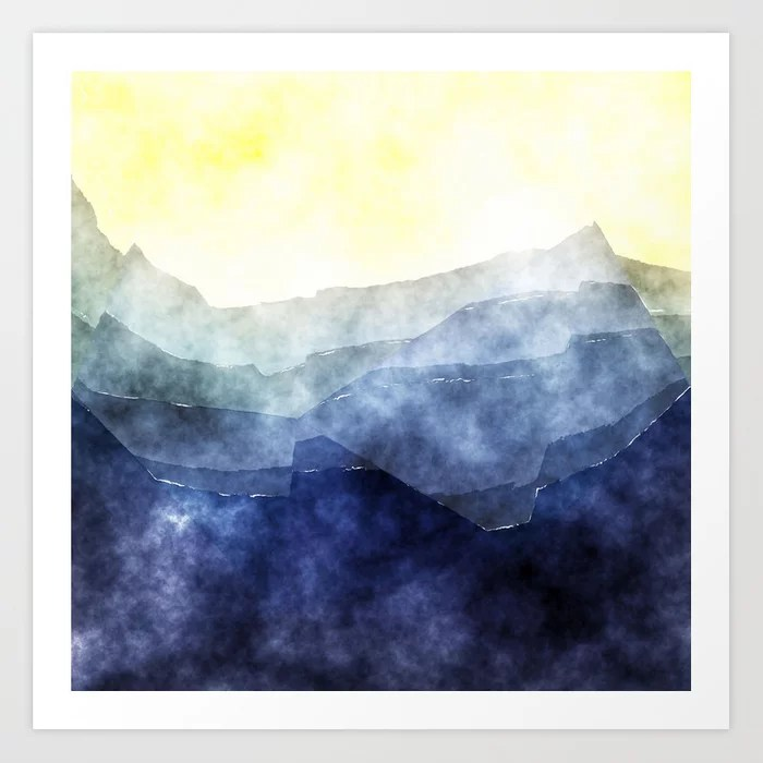 Sunday's Society6 | Mountains landscape watercolor art print