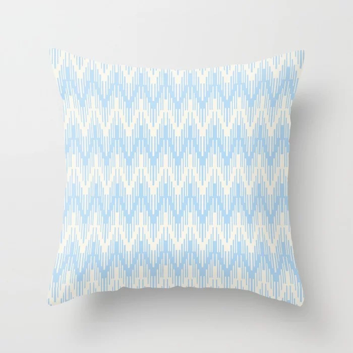 Baby Blue Off-White Chevron Ripple Pattern 2021 Color of the Year Wild Blue Yonder Swiss Coffee Throw Pillow