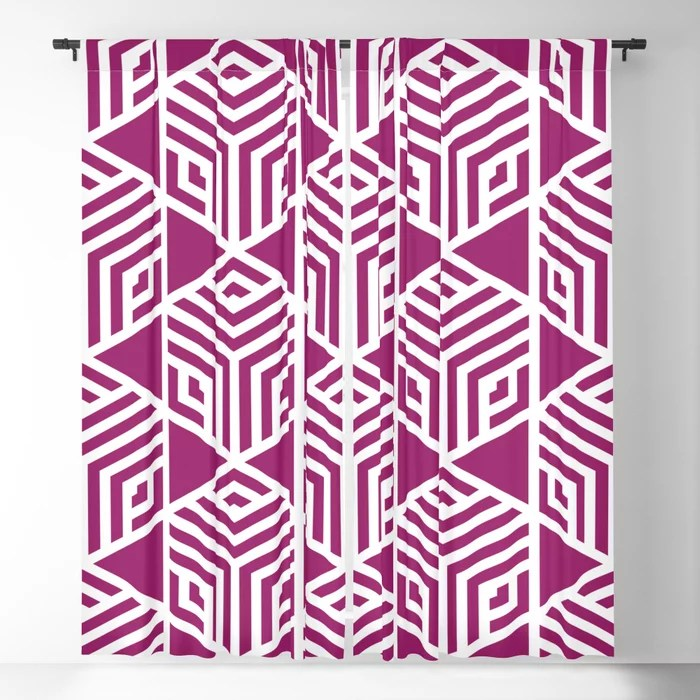 Magenta and White Stripe Cube Tile Pattern - Colour of the Year 2022 Orchid Flower 150-38-31 Blackout Curtain - 2022 color trends interior design