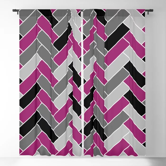 Magenta Gray Black and White Herringbone Pattern - Colour of the Year 2022 Orchid Flower 150-38-31 Blackout Curtain - 2022 color trends interior design