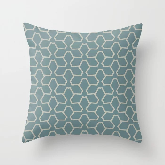 Blue-Green Tan Line Pattern 12 Abstract Flower 2021 Color of the Year Aegean Teal and Winterwood Throw Pillow