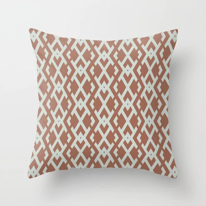 Pastel Green and Clay Vertical Zig Zag Pattern Pairs Behr 2022 Color of the Year Breezeway MQ3-21 Throw Pillow. 2022 color scheme, trending interior design hue.