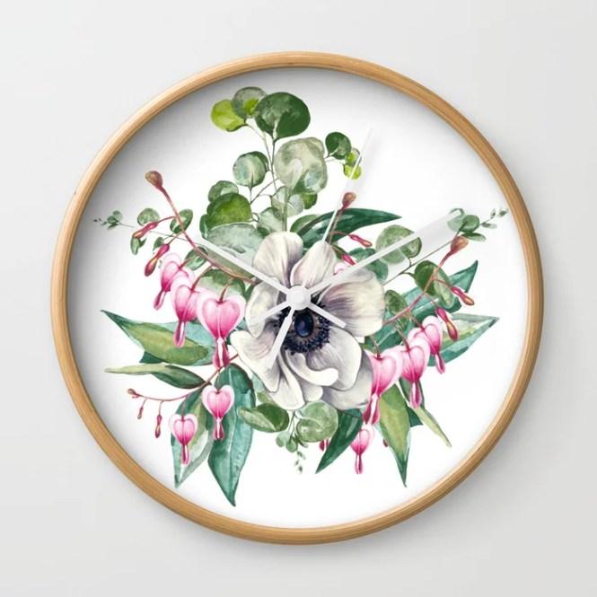 Gentille Watercolor Handpainted Clipart Fl Flower Design Stylish Wedding Invitation Wall Clock By Manuelamishkova