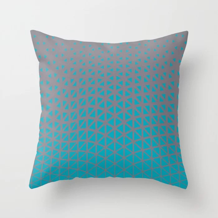 Aqua Blue and Gray Triangle Gradient Wave Pattern 2021 Color of the Year AI Aqua and Good Gray Throw Pillow