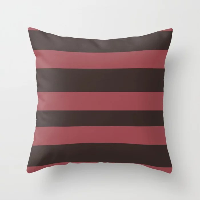 Red and Brown Wide Horizontal Stripe Pattern 2021 Color of the Year Passionate & Dark Bronzetone Throw Pillow