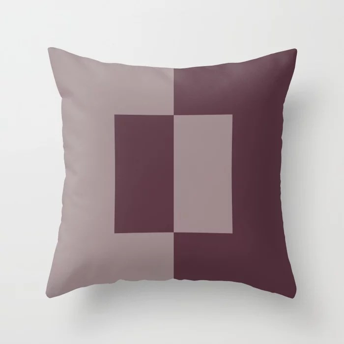 Deep Purple Pink-Purple Minimal Square Design Throw Pillows inspired by and pairs to (matches / coordinates with) Graham and Brown 2021 Color of the Year Epoch and Spiced Mulberry