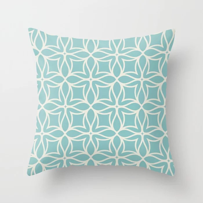 Pastel Teal and Cream Line Art Flower Pattern 2021 Color of the Year Aqua Fiesta and Horseradish Throw Pillow