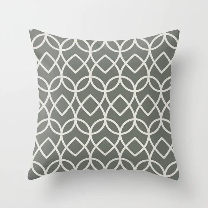 Green Creamy White Geometric Teardrop Pattern 2021 Color of the Year Contemplative and Whitewisp Throw Pillow