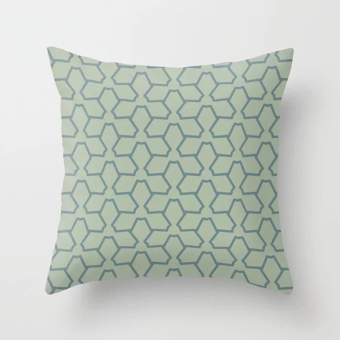 Blue-Green Line Pattern 12 Abstract Flower 2 2021 Color of the Year Aegean Teal and Salisbury Green Throw Pillow