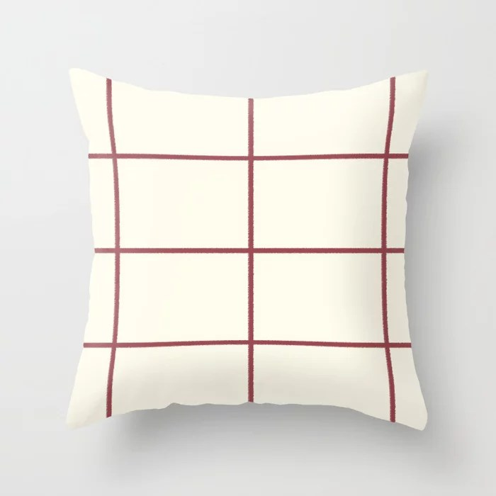 Red and Off White Abstract Check Line Pattern Pairs HGTV 2021 Color of the Year Passionate Throw Pillow
