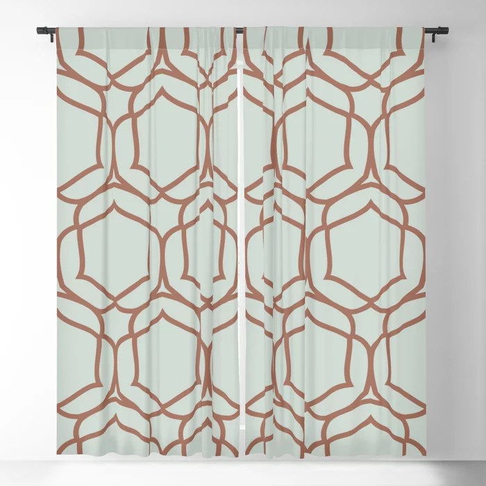 Pastel Green and Clay Shape Tile Pattern 2 Pairs Behr 2022 Color of the Year Breezeway MQ3-21 Blackout Curtain. Color for 2022