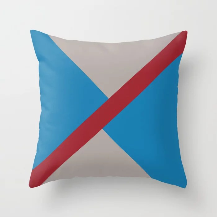 Blue Red Grey Diagonal Stripe Offset Pattern Rustoleum 2021 Color of the Year Satin Paprika & Accent Throw Pillow