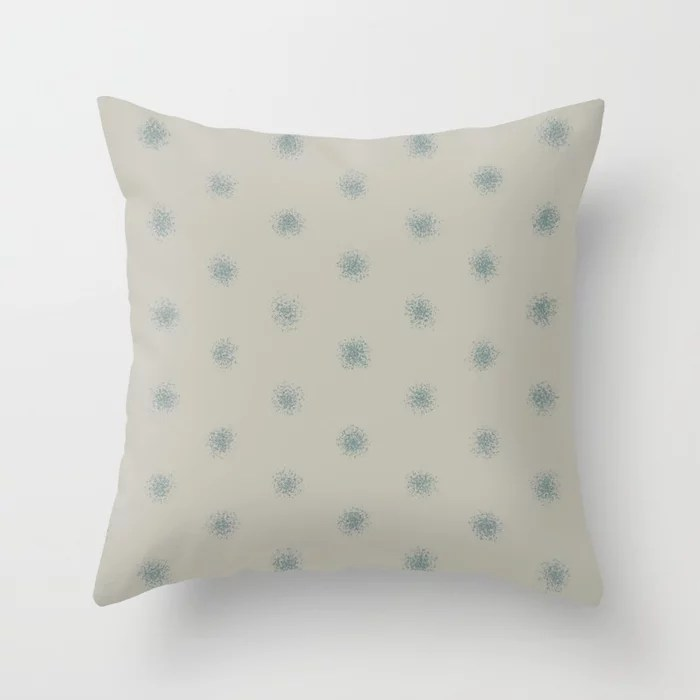 Muted Aqua and Tan Splatter Polka Dot Pattern 2021 Color of the Year Aegean Teal and Winterwood Throw Pillow