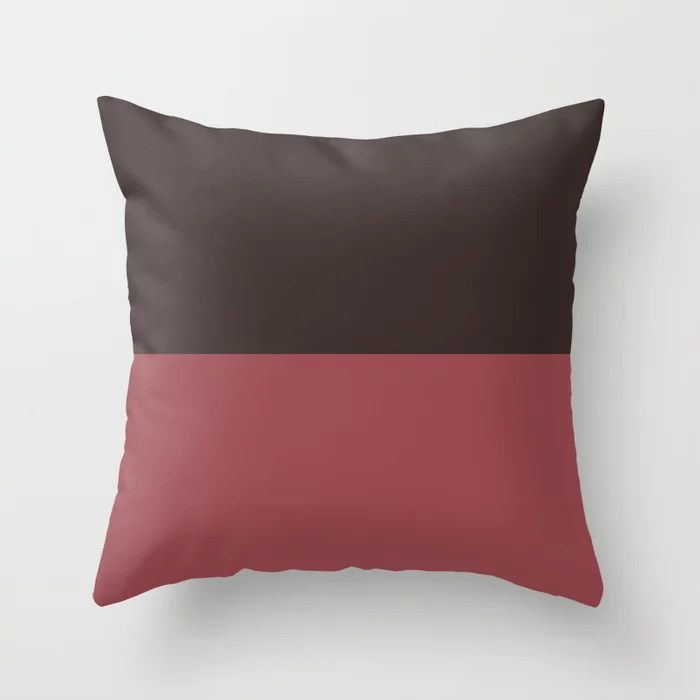 Red and Brown Minimal Solid Color Line Pattern 2021 Color of the Year Passionate and Dark Bronzetone Throw Pillow
