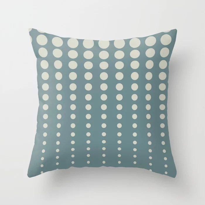 Tropical Blue-Green Beige Reduced Polka Dot Pattern 2021 Color of the Year Aegean Teal Sweet Spring Throw Pillow