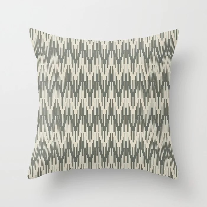 Green Buff Tan Chevron Ripple Pattern 2021 Color of the Year Contemplative Bleached Pebble Throw Pillow
