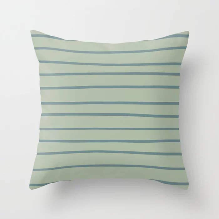 Blue-Green Minimal Horizontal Line Pattern 2021 Color of the Year Aegean Teal and Salisbury Green Throw Pillow