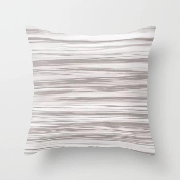 Grey Soft Focus Motion Watercolor Blend Stripes Rustoleum Satin Driftwood Throw Pillow
