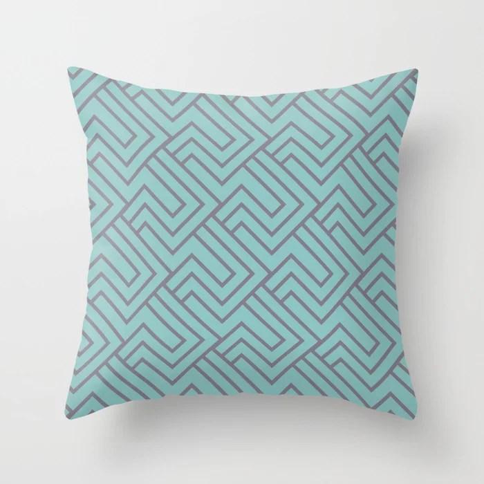 Pastel Aqua and Purple Minimal Line Art Pattern 2 2021 Color of the Year Aqua Fiesta and Magic Dust Throw Pillow