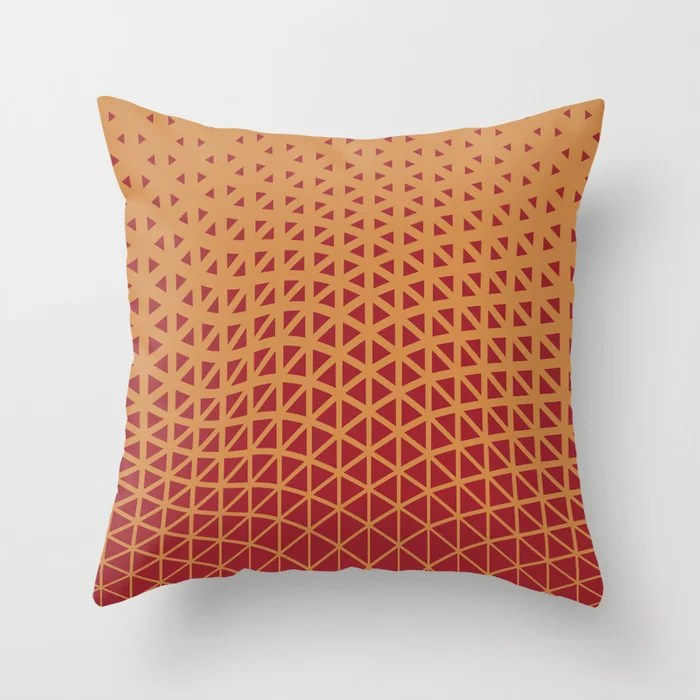 Red and Orange-Brown Geometric Wave Pattern 2021 Color of the Year Satin Paprika Satin Warm Caramel Throw Pillow