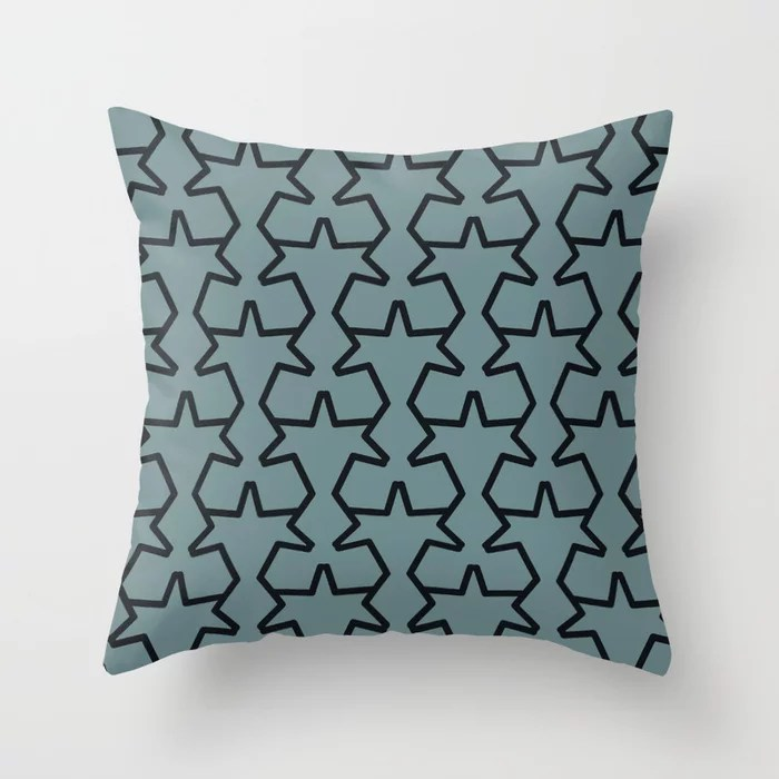 Aqua and Black Geometric Tessellation Pattern 15V2 Pairs 2021 Color of the Year Aegean Teal Throw Pillow