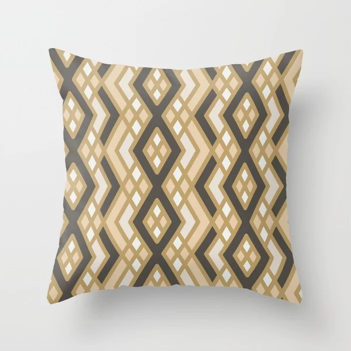 Earthy Abstract Shape Pattern 3 Throw Pillow Matches Sherwin Williams Paints 2021 Color of the Year Urbane Bronze and Accent Shades